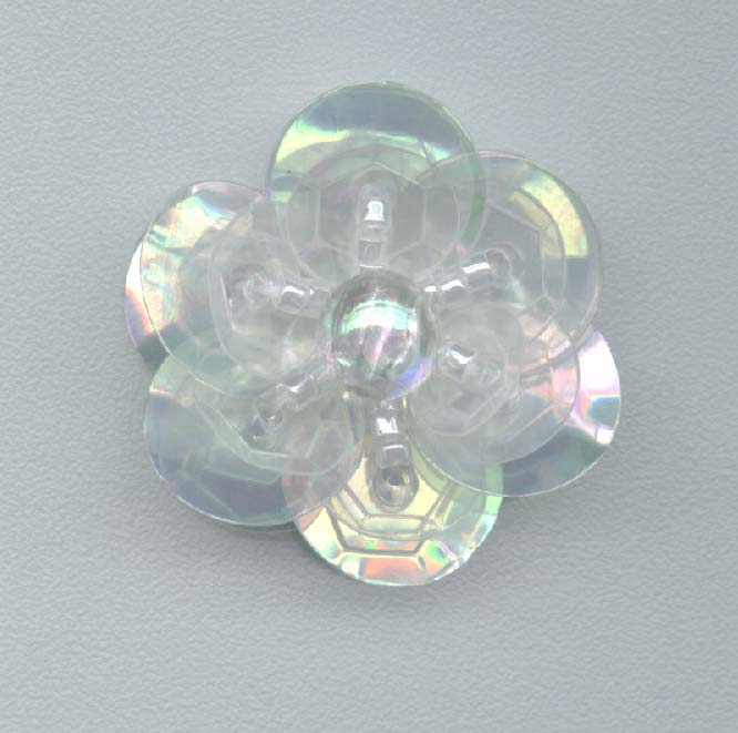 Clear Sequin Flower - Two Layer - Delica Beads