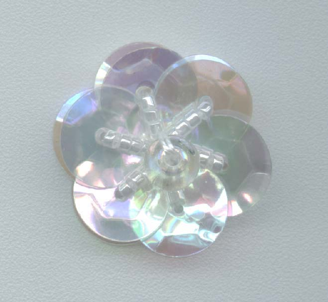 Clear Sequin Flower - One Layer - Delica Beads