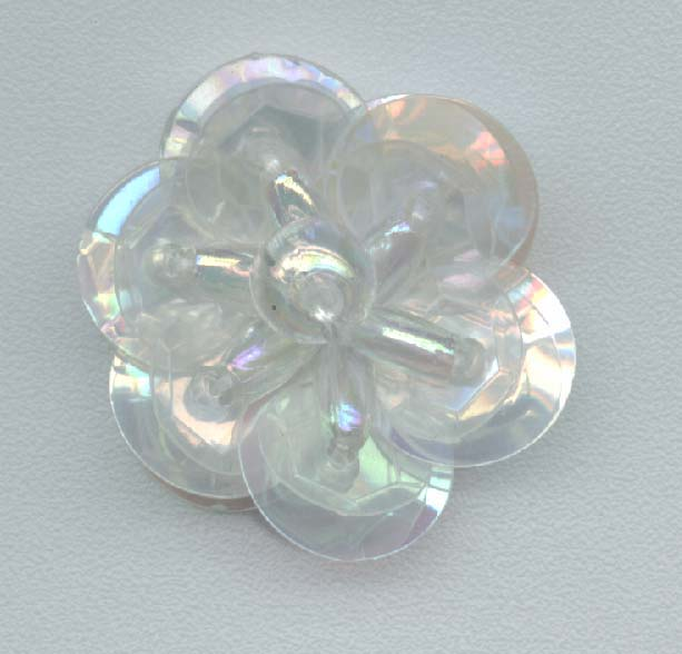 Clear Sequin Flower - Two Layer  - Oval Beads