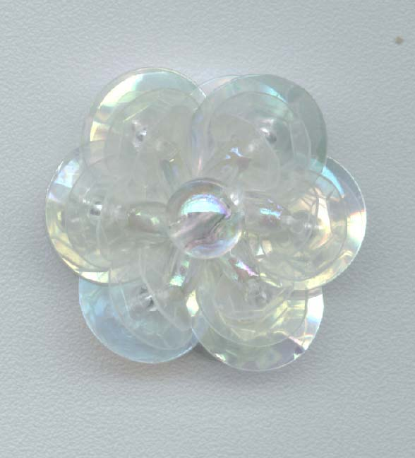 Clear Sequin Flower - Three Layer -  Oval Beads